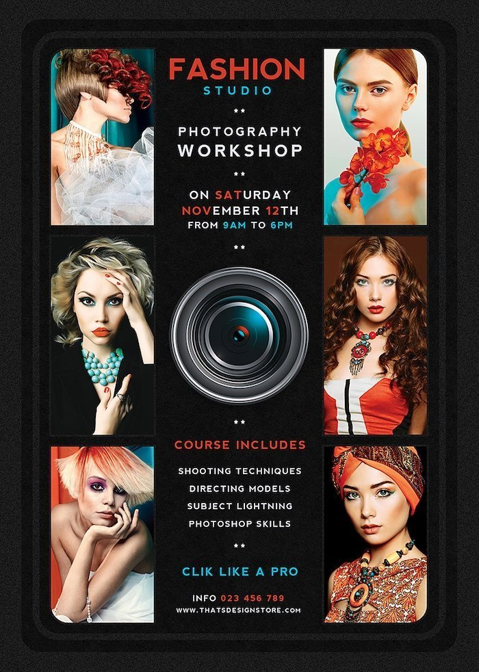 Photography Workshop Flyer Template Psd, Photo Studio, photoshoot, photo booth, photographer