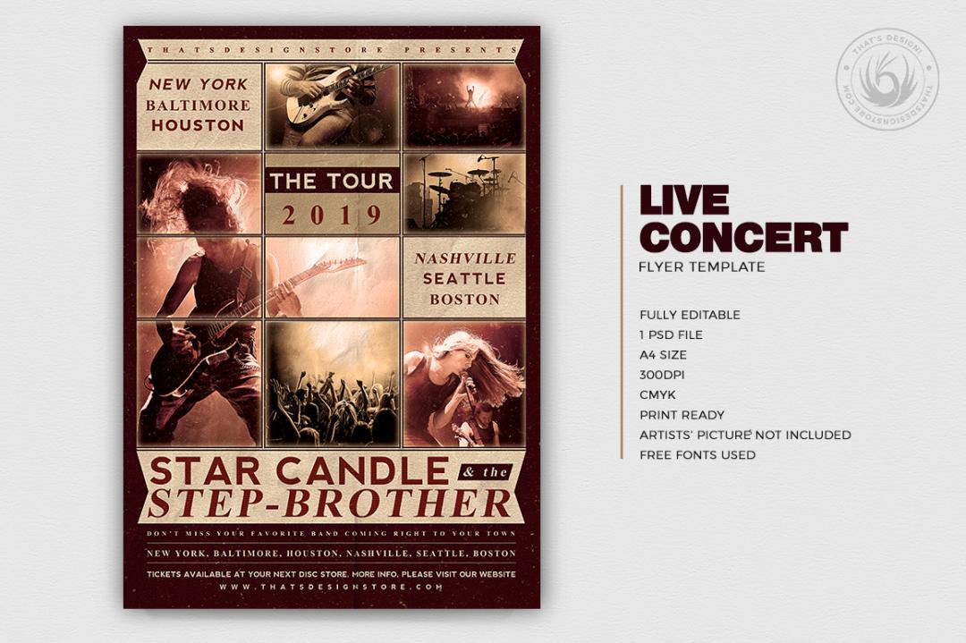 Live Concert Flyer Template psd indie band V2