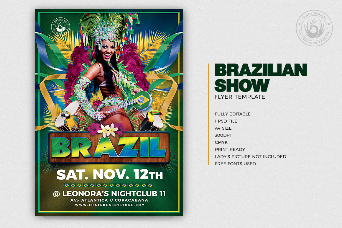 Download Brazilian Show Flyer Template PSD