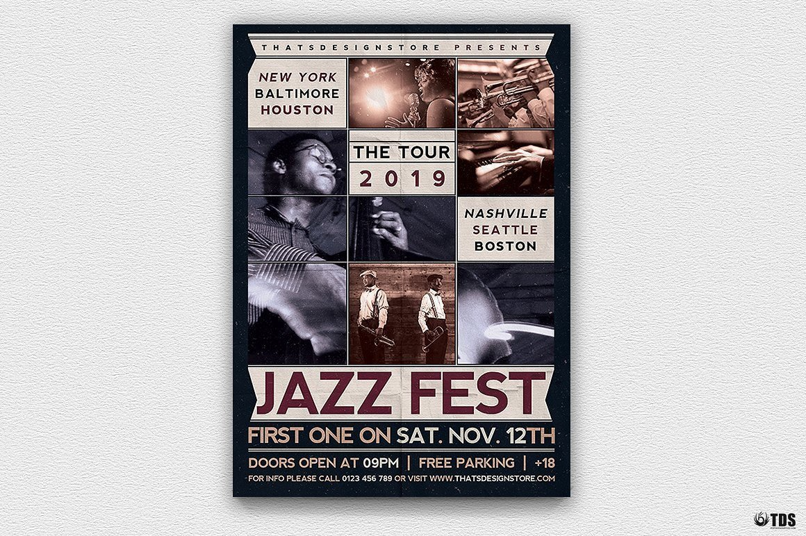 Jazz Fest Flyer Template PSD printable customizable in photoshop