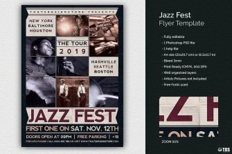 Jazz Fest Flyer Template PSD printable customizable in photoshop
