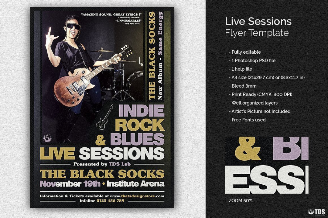 Live Sessions Flyer Template