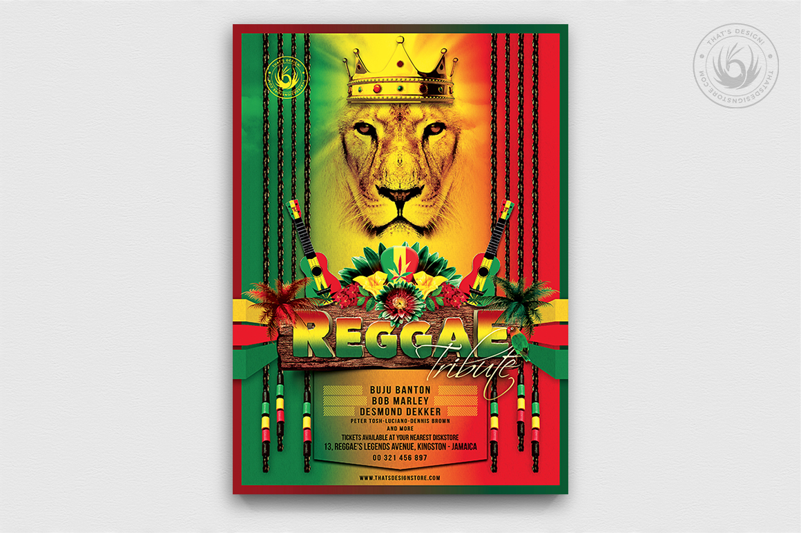 Reggae Tribute Flyer Template, Rasta PSD Flyer