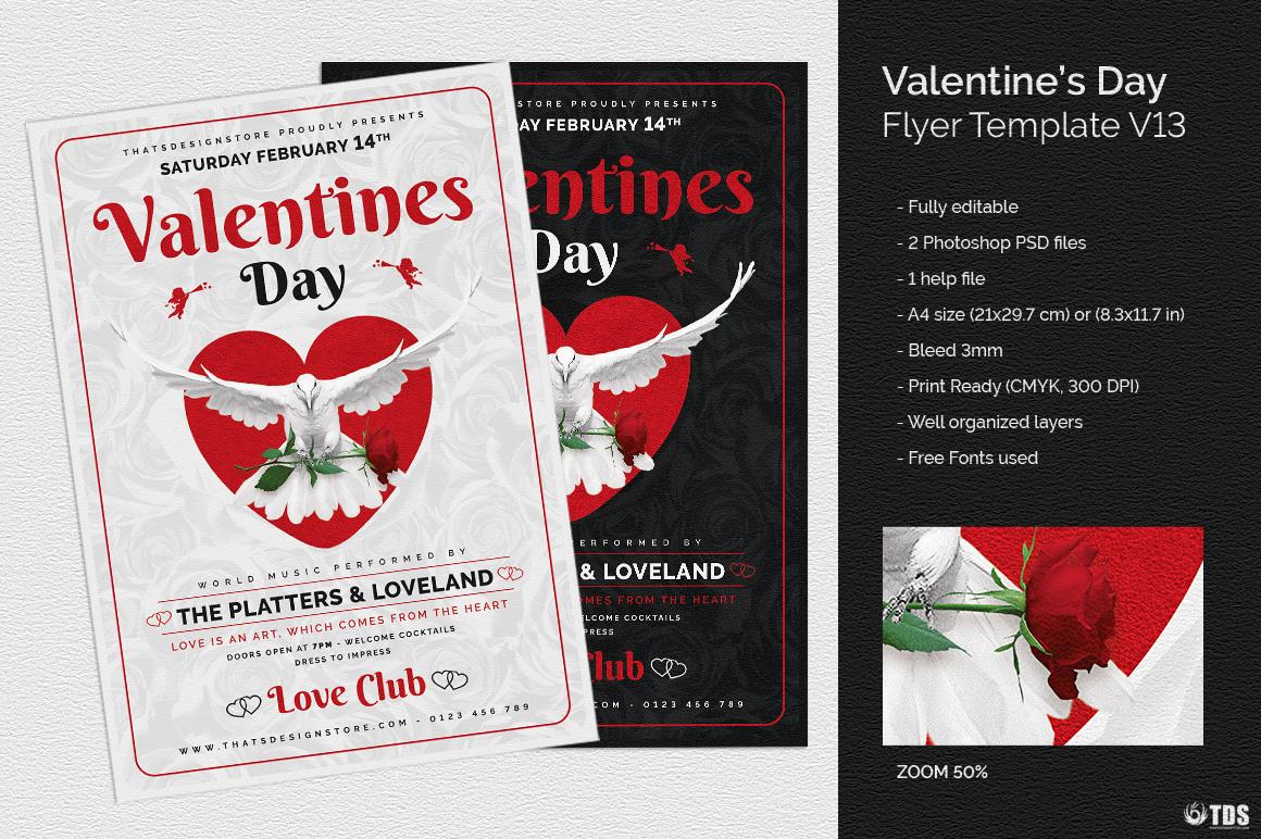 valentine 39 s day flyer template v13 thats design store. Black Bedroom Furniture Sets. Home Design Ideas