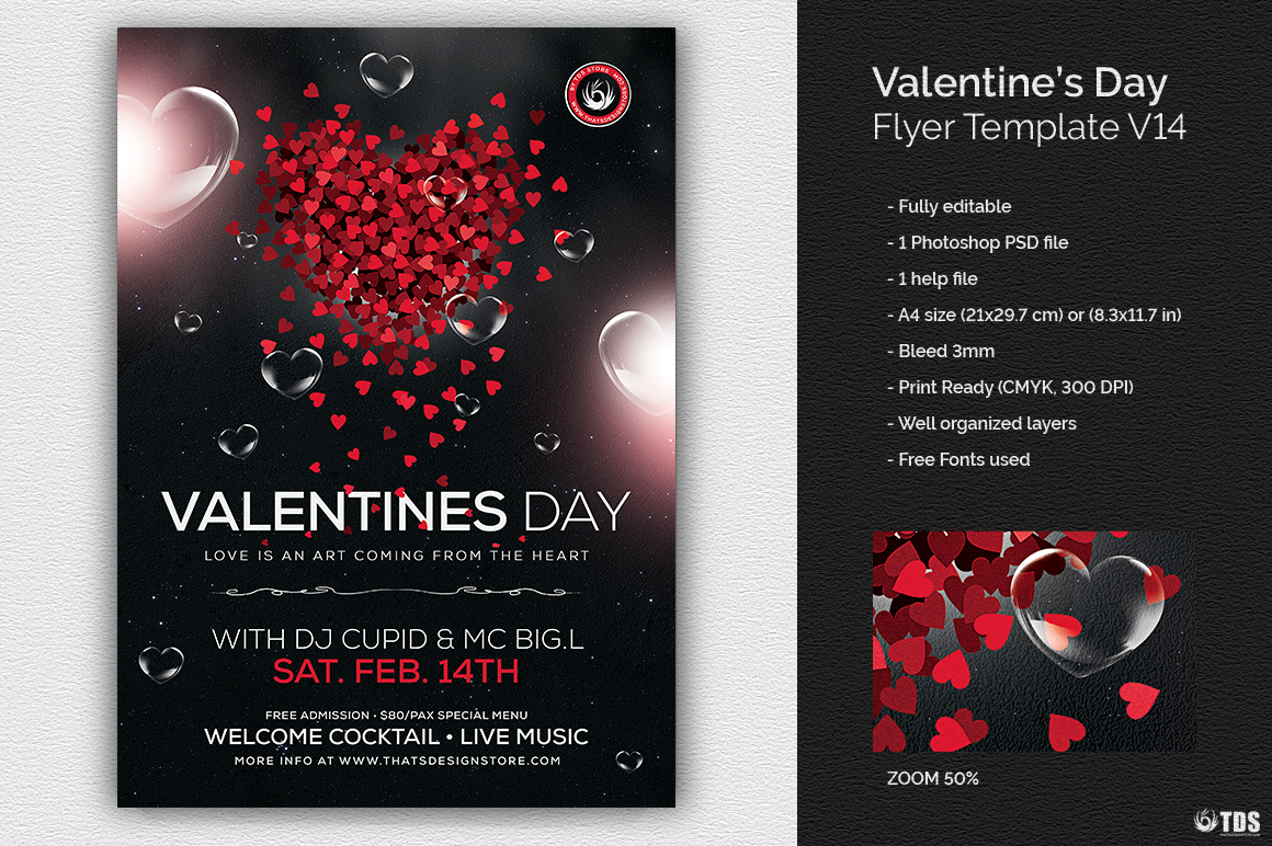 valentines day flyer template psd download v14