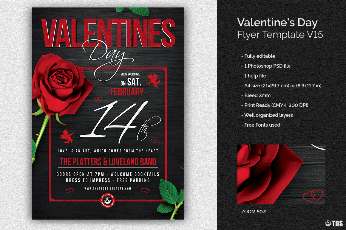 Valentine's Day Flyer Template psd download V15