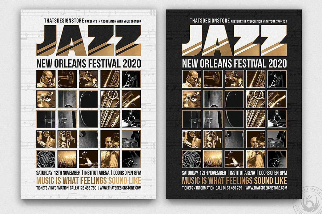 Jazz Festival Flyer Template PSD download V9