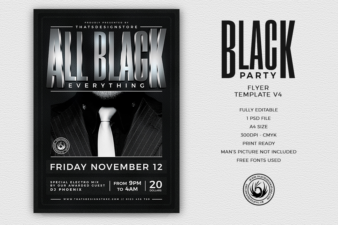 Black Party Flyer Template V4 | Thats Design! Store