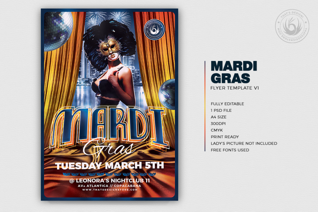 Mardi Gras Psd Flyer Template for Photoshop