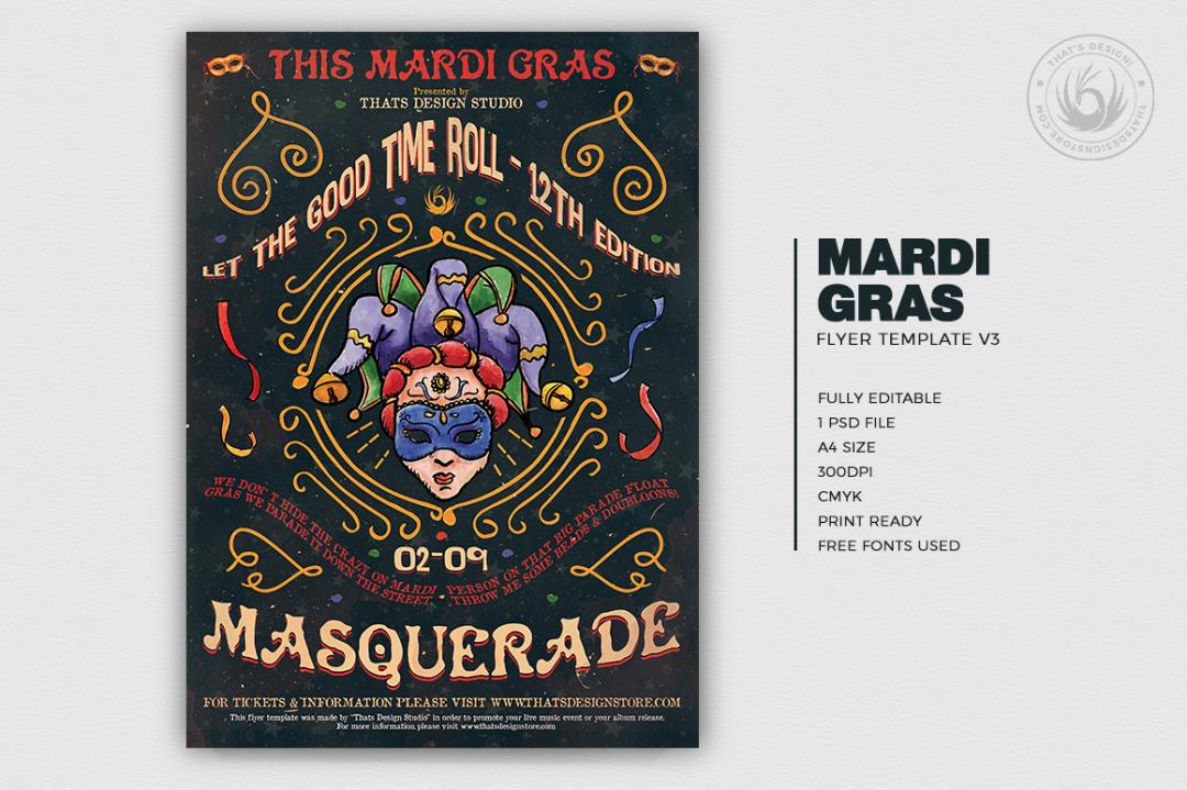 Mardi Gras Flyer Template Psd Download V3