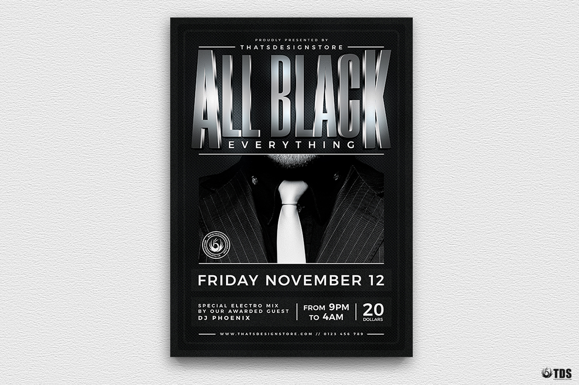 black party flyer template v4 thats design store