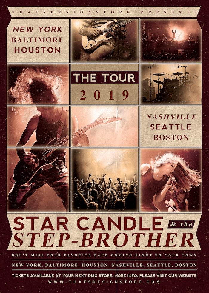 Live Concert Flyer Template PSD Indie bandV2