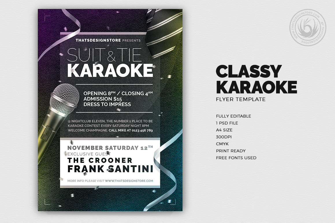 Classy Karaoke Flyer Template Thats Design Store