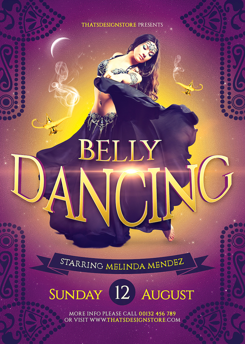 Belly Dancing Flyer Template for any Oriental party, Belly Dance show or courses, Shisha , Arabian Nights or Ramadan Event.