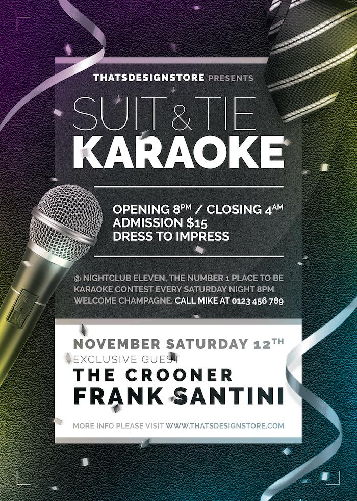 Classy Karaoke Flyer Template Psd night poster, room, bar, contest, Open mic