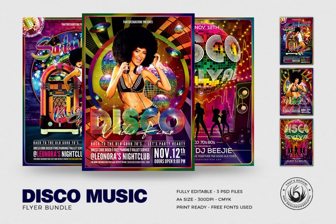 Disco Flyer Templates psd for Photoshop