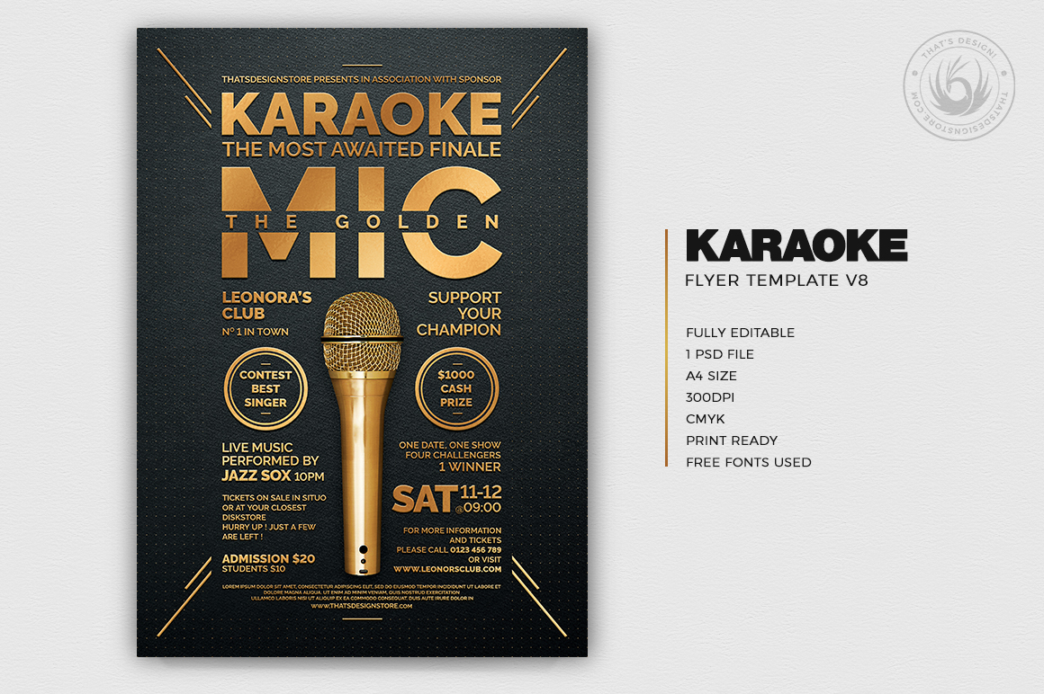 Karaoke Flyer Template PSD Download V8