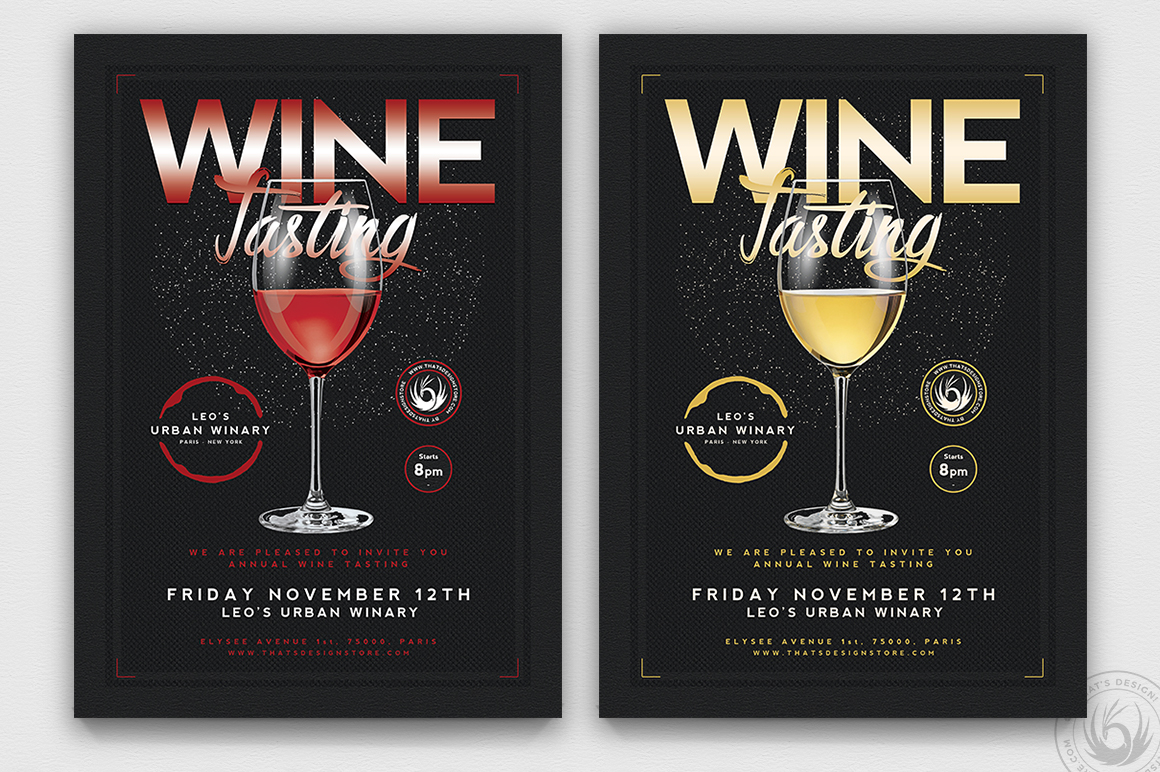 Wine Tasting Flyer Template PSD download V2