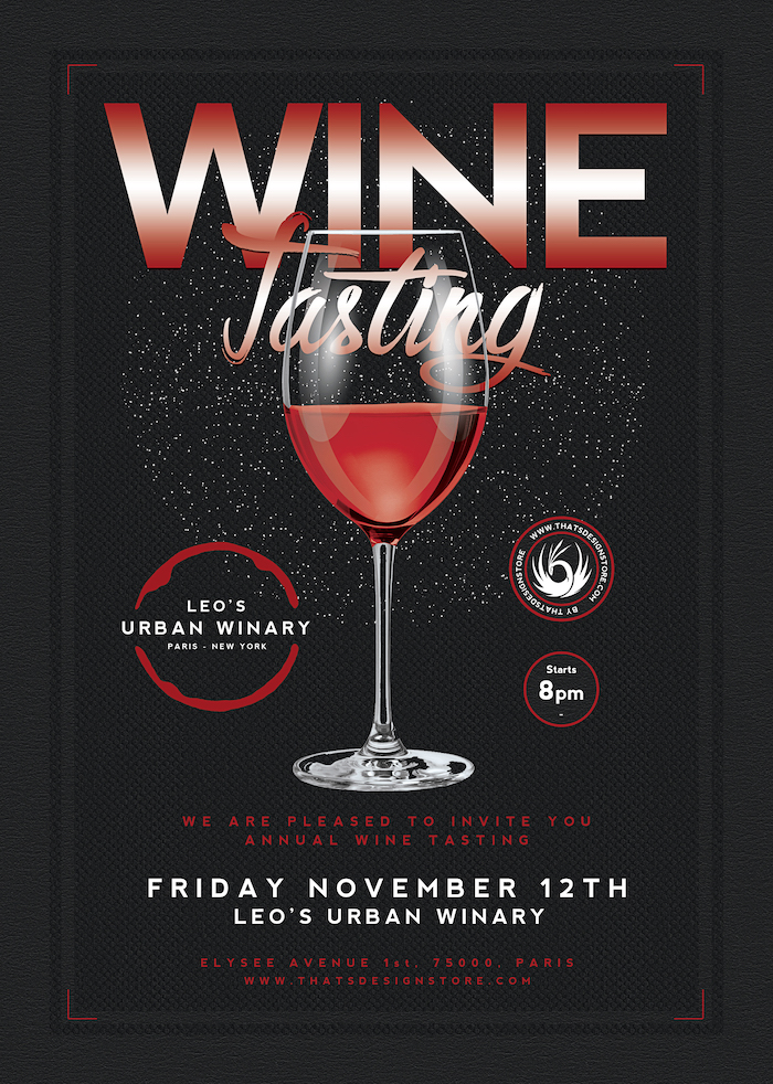 Wine Tasting Flyer Template V2, french afterwork psd download. Happy hour, drinks cocktails