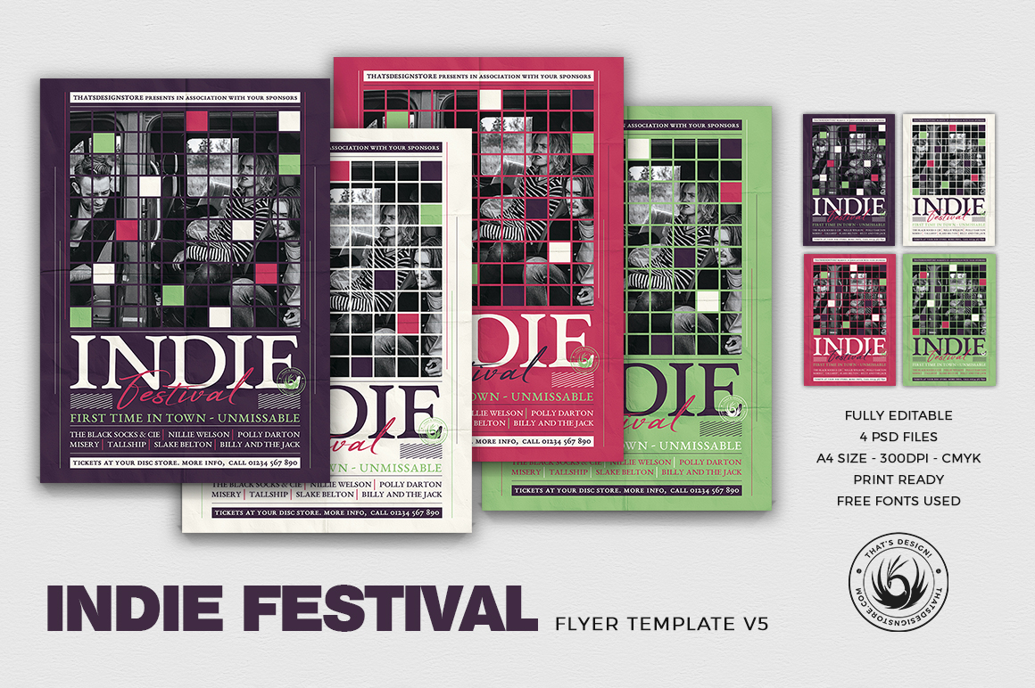 Indie Fest Flyer Template V5 | Free posters design for photoshop