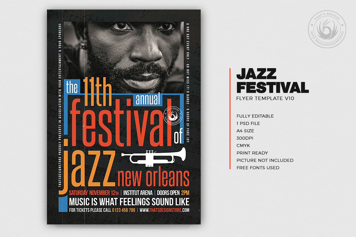Jazz Flyer Design PSD Template For Photoshop V10, cutomizable, printable to download