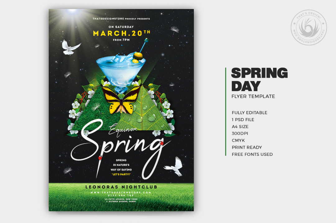 Spring Day Flyer Template PSD download V2