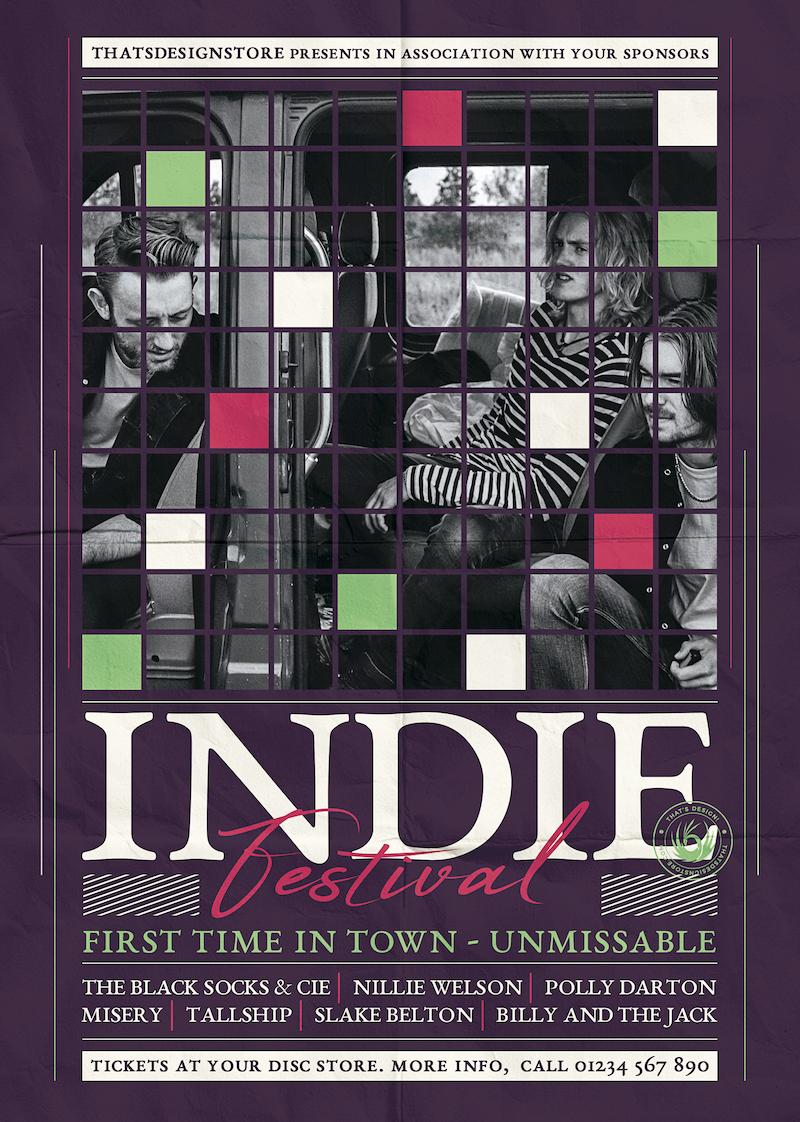 Indie Fest Flyer Template V5, Concert, live band, pink, green poster