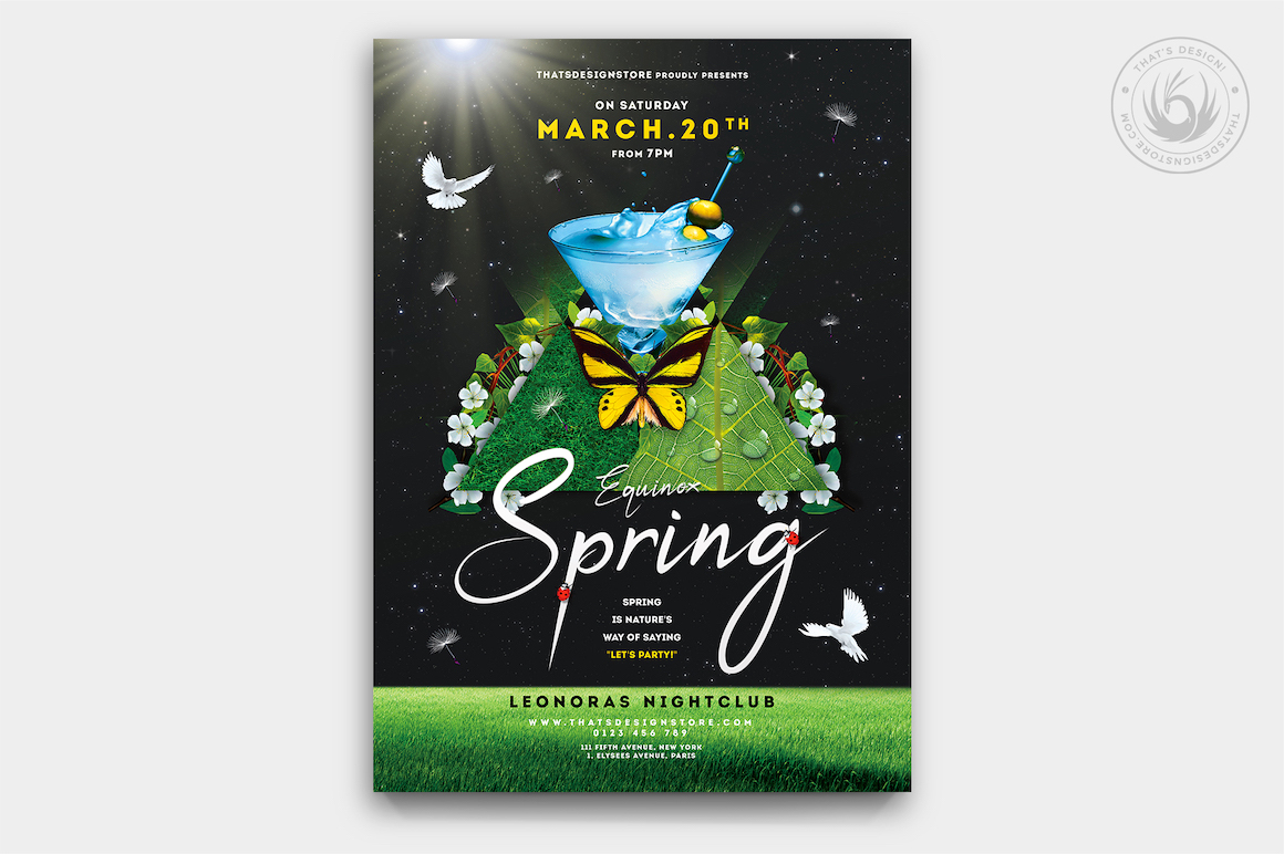 Spring Party Flyer Psd Templates, Spring Day Flyer Template PSD download V2