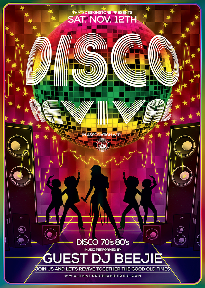 Disco Revival flyer template Psd design for photoshop, Saturday night fever, Remember, flower power, 70's, 80's, 90's and Revival Special Afro party