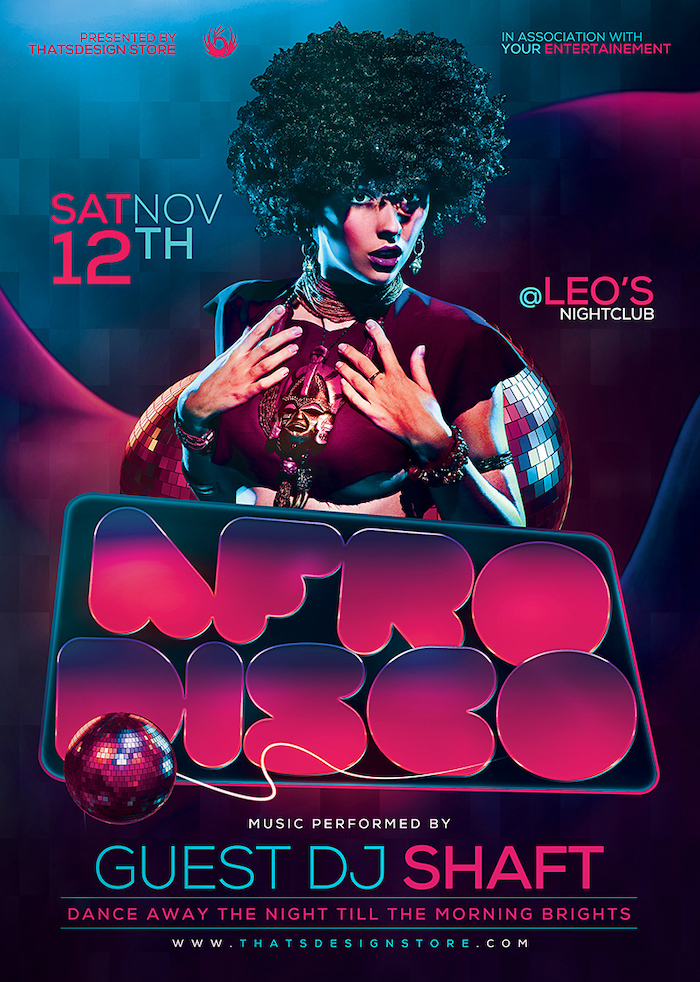 Afro Disco Flyer Template is Perfect for any Saturday night fever, Remember, flower power, 70's, 80's, 90's, Neon and Revival Special Afro party