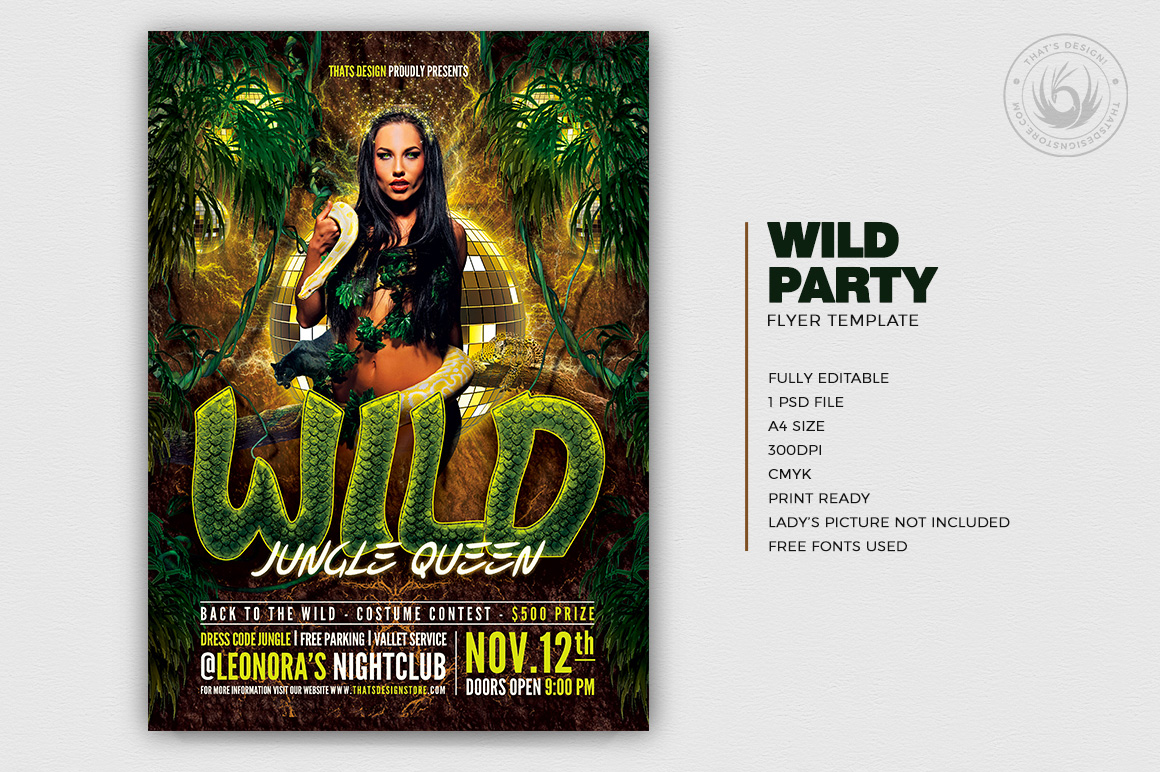 Club flyers, Wild Jungle party flyer template download to customize with photoshop