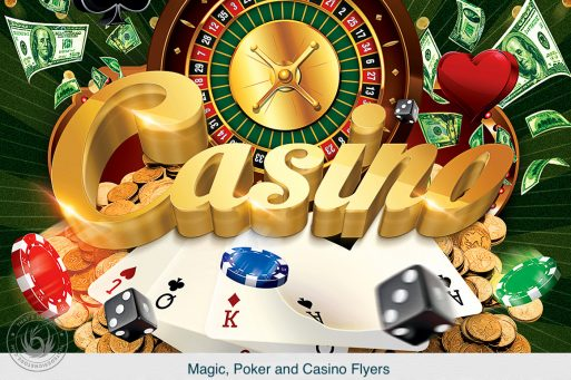 Casino flyer templates are suitable for a poker night or a vegas party.