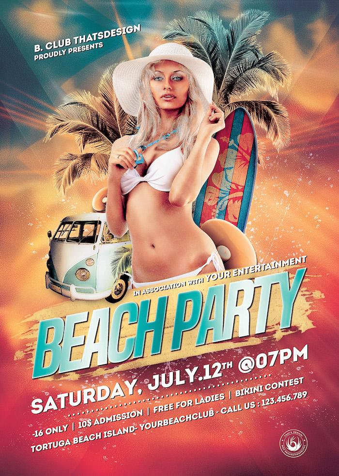 Beach Party Flyers Template Psd V1, summer