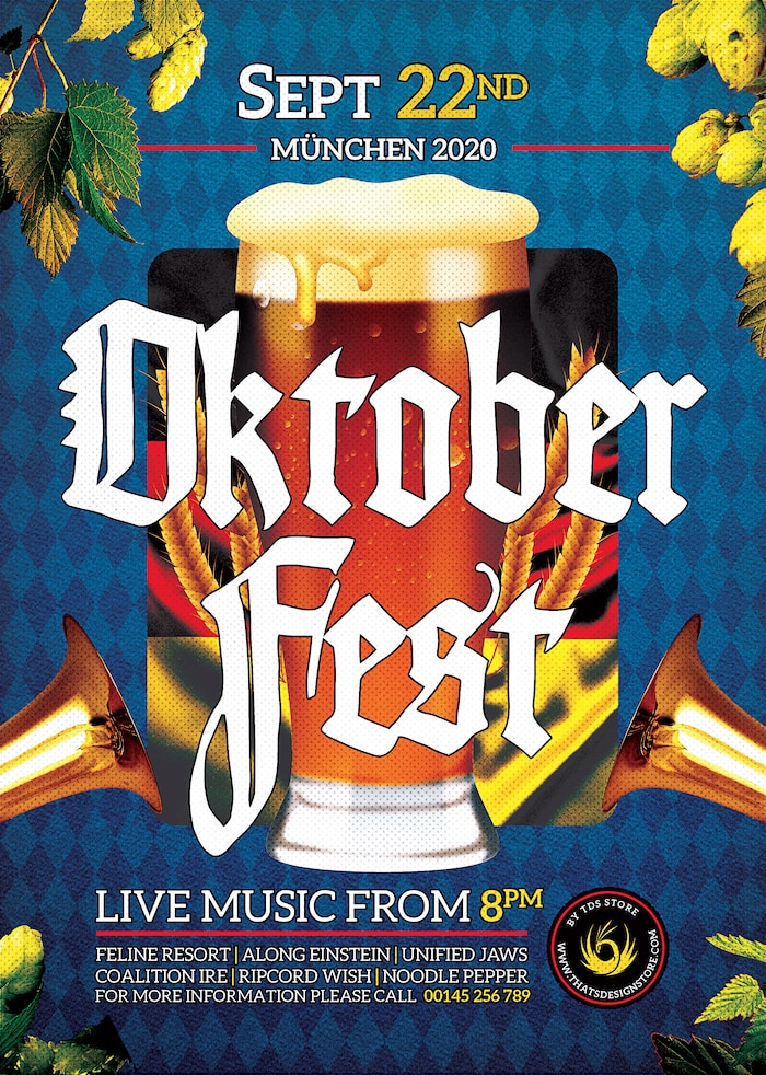 Beer Party Oktoberfest Flyer PSD Template design V13 and Create amazing beer party flyers for your bar to download.
