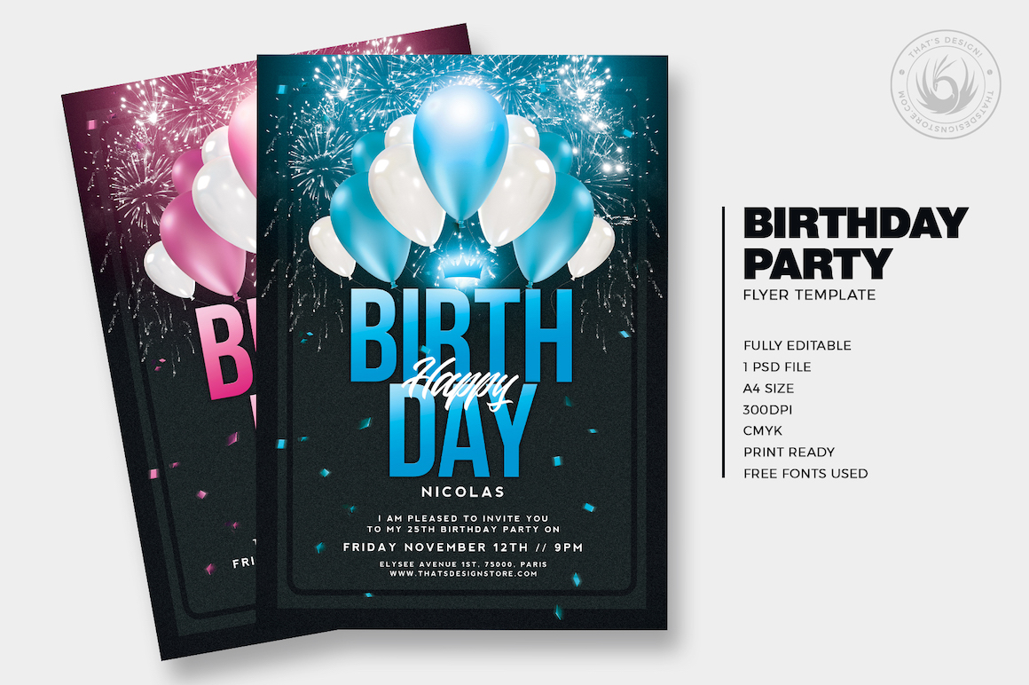 Birthday party invitations Flyer templateis designed to promote your Birthday Party, a club anniversary, a Gold party Event.