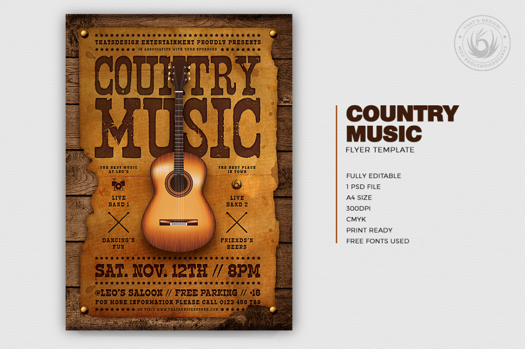 Country music Flyer Template PSD download, Wanted flyers farwest Western posters, rodeo bike cowboy in a coyote bar
