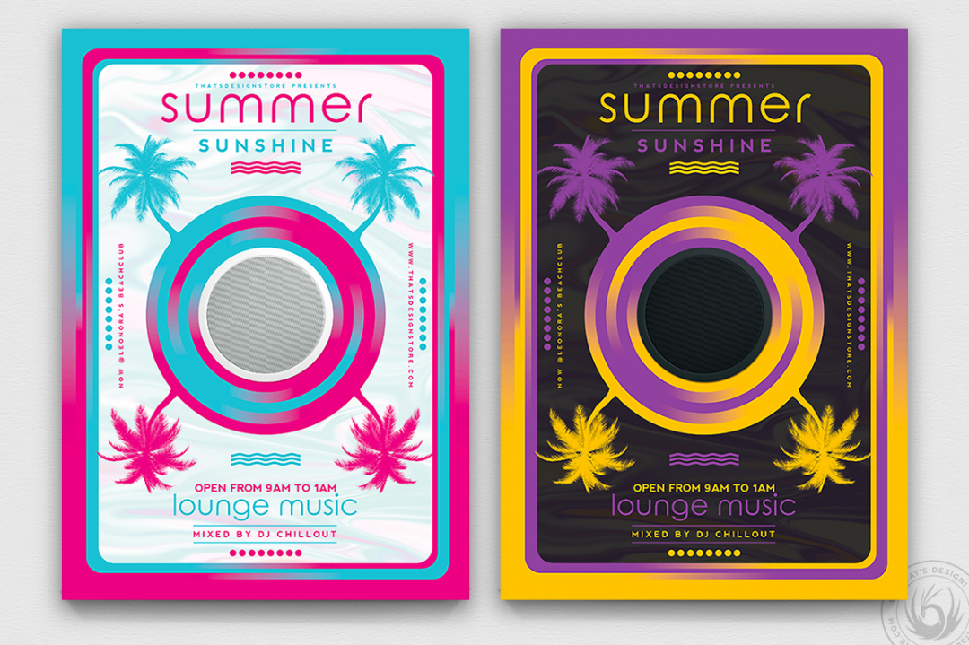 Minimal summer flyer Design for any beach club or cocktails bar event. Pool or garden party with Dj set mixing chillout, lounge music for a tropical sunset, summer camp holidays
