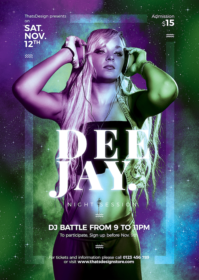 DJ Session Flyer Template Psd download V7, Club Party electro