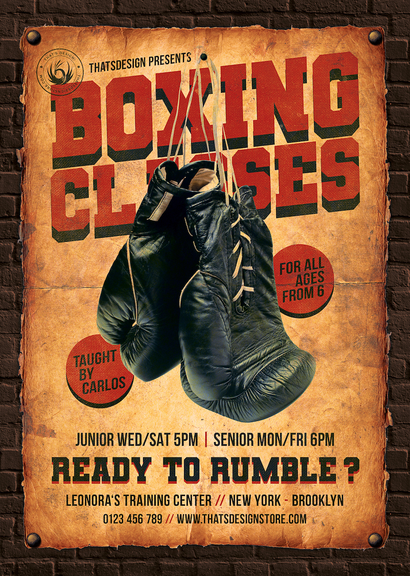 Vintage Boxing Classes Flyer Template Psd poster download
