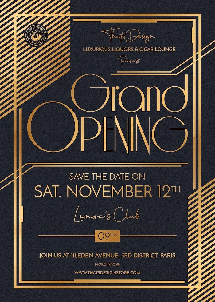 Grand opening flyers , Annoucements Invitations posters, luxury events